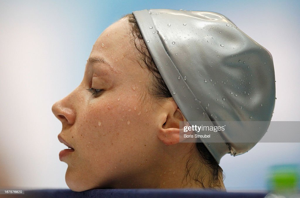 Dorothea Brandt of SG Essen looks on after winning the women's 50m butterfly A final day one of the German Swimming Championship 2013 at the Eurosportpark on April 26, 2013 in Berlin, Germany.
