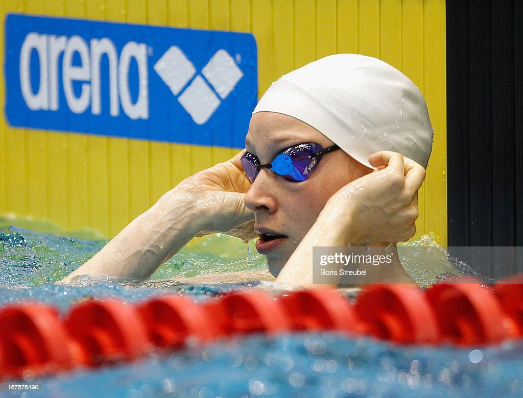 Dorothea Brandt of SG Essen reacts after winning the women's 50m breaststroke A final during day one of the German Swimming Championship 2013 at the Eurosportpark on April 26, 2013 in Berlin, Germany.