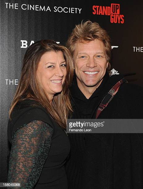Dorothea Hurley and her husband musician Jon Bon Jovi attend the premiere of 'Stand Up Guys' hosted by The Cinema Society with Chrysler and Bally at...