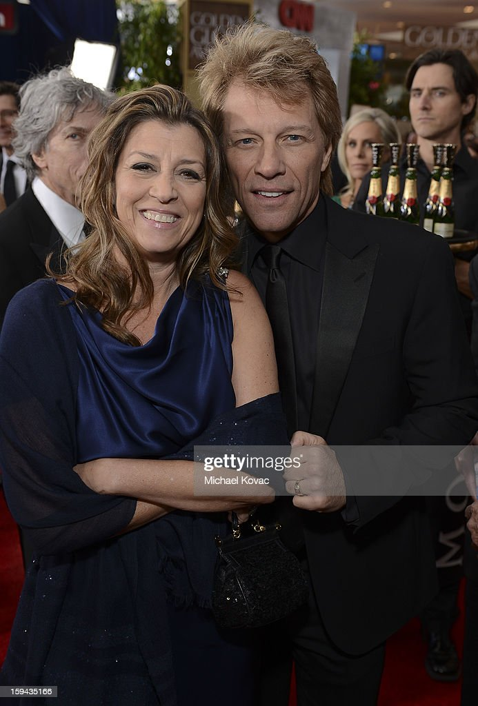 Dorothea Hurley and Jon Bon Jovi attend Moet & Chandon At The 70th Annual Golden Globe Awards Red Carpet at The Beverly Hilton Hotel on January 13, 2013 in Beverly Hills, California.