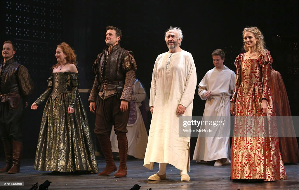 Dorothea MyerBennett Dan Fredenburg Jonathan Pryce and Rachel Pickup and cast during the Opening Night curtain call bows in The Shakespeare's Globe...