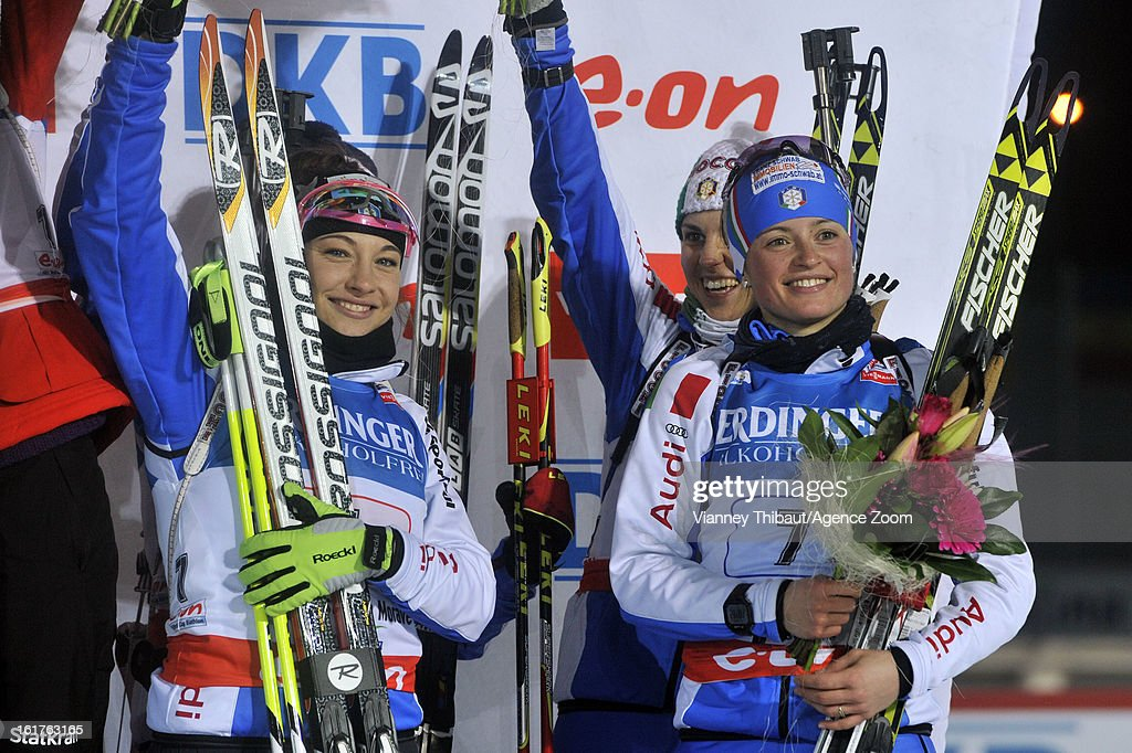 Dorothea Wierer, Michela Ponz, Karin Oberhofer, Nicole Gontier of Italy takes 3rd place during the IBU Biathlon World Championship Women's 4x6km Relay on February 15, 2013 in Nove Mesto, Czech Republic.