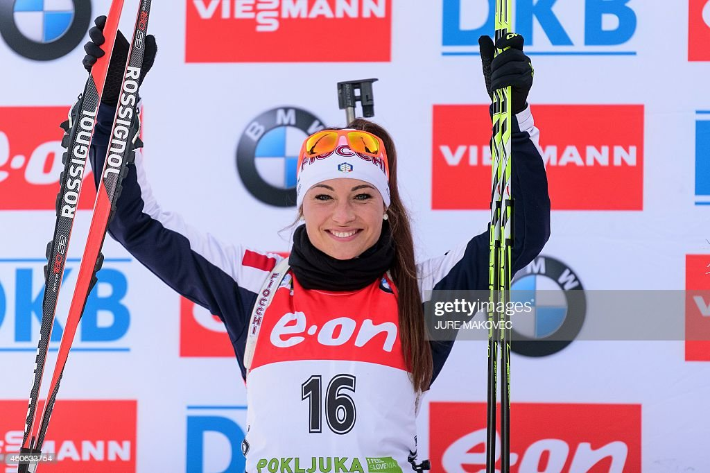 <a gi-track='captionPersonalityLinkClicked' href=/galleries/search?phrase=Dorothea+Wierer&family=editorial&specificpeople=7438920 ng-click='$event.stopPropagation()'>Dorothea Wierer</a> of Italy celebrates after placing second in the women's 7,5 km sprint event during the IBU Biathlon World Cup in Pokljuka, Slovenia on December 18, 2014. AFP PHOTO / Jure Makovec