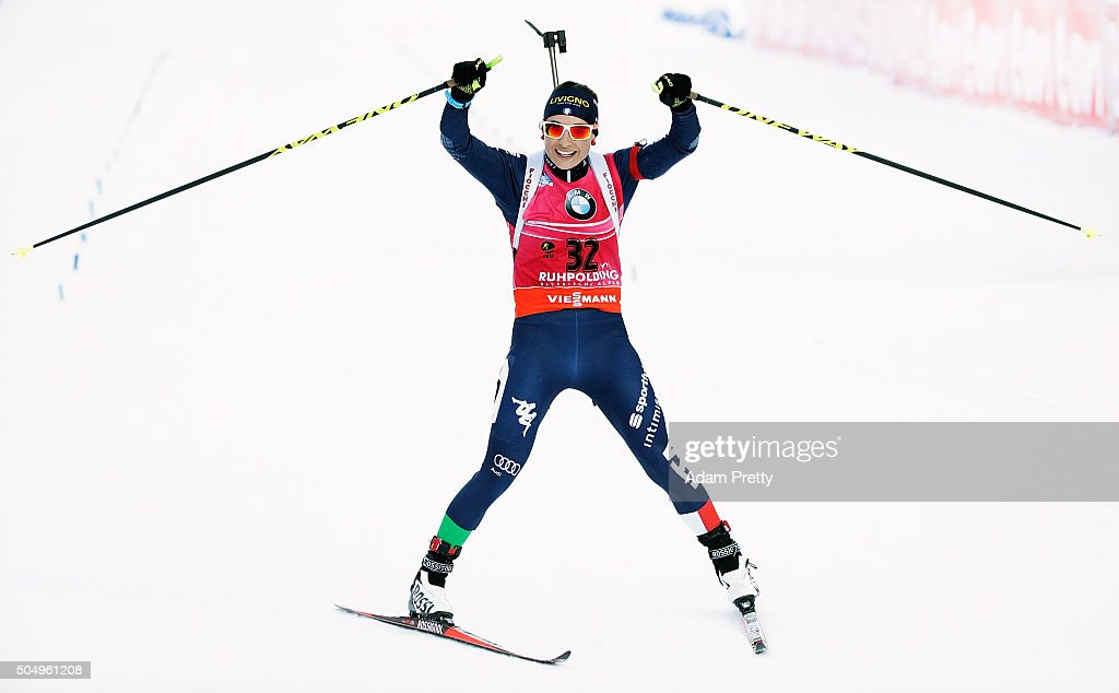 <a gi-track='captionPersonalityLinkClicked' href=/galleries/search?phrase=Dorothea+Wierer&family=editorial&specificpeople=7438920 ng-click='$event.stopPropagation()'>Dorothea Wierer</a> of Italy celebrates victory in the Women's 15km biathlon race at the IBU Biathlon World Cup Ruhpolding on January 14, 2016 in Ruhpolding, Germany.