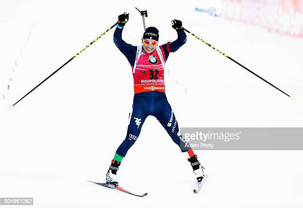 Dorothea Wierer of Italy celebrates victory in the Women's 15km biathlon race at the IBU Biathlon World Cup Ruhpolding on January 14 2016 in...