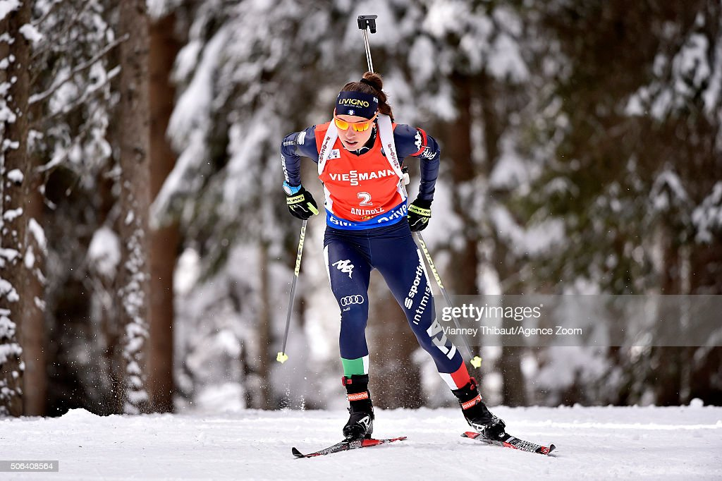 <a gi-track='captionPersonalityLinkClicked' href=/galleries/search?phrase=Dorothea+Wierer&family=editorial&specificpeople=7438920 ng-click='$event.stopPropagation()'>Dorothea Wierer</a> of Italy competes ahead of taking 3rd place during the IBU Biathlon World Cup Women's Pursuit on January 23, 2016 in Antholz-Anterselva, Italy.
