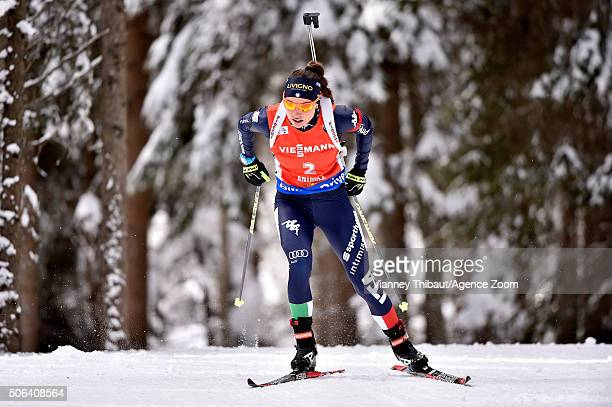 Dorothea Wierer of Italy competes ahead of taking 3rd place during the IBU Biathlon World Cup Women's Pursuit on January 23 2016 in AntholzAnterselva...