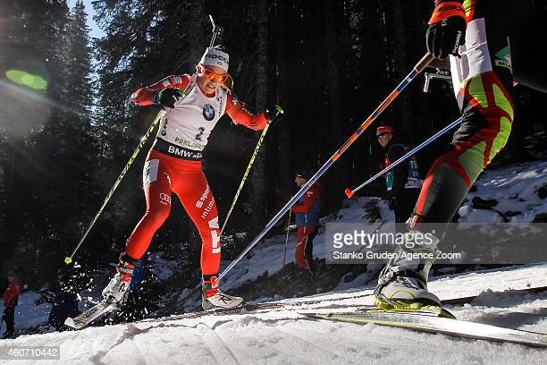 Dorothea Wierer of Italy competes during the IBU Biathlon World Cup Men's and Women's Pursuit on December 20 2014 in Pokljuka Slovenia