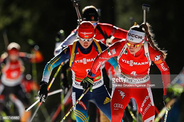Dorothea Wierer of Italy competes during the IBU Biathlon World Cup Men's and Women's Mass Start on December 21 2014 in Pokljuka Slovenia