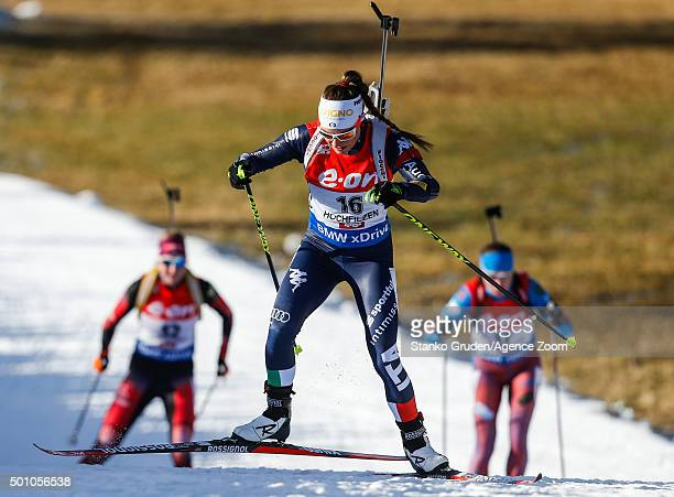 Dorothea Wierer of Italy competes during the IBU Biathlon World Cup Men's and Women's Pursuit on December 12 2015 in Hochfilzen Austria