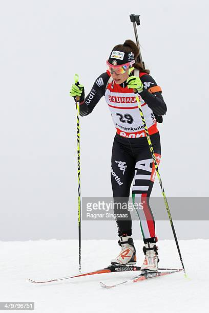 Dorothea Wierer of Italy competes during the women's 75 kilometer sprint race of the EON IBU Biathlon Worldcup on March 20 2014 in Oslo Norway