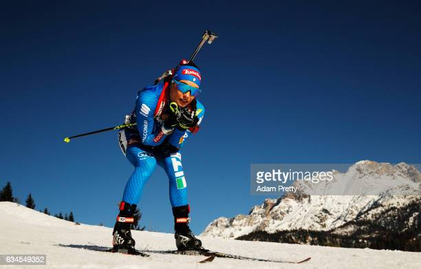 Dorothea Wierer of Italy competes in the women's 75km sprint competition of the IBU World Championships Biathlon 2017 at the Biathlon Stadium...