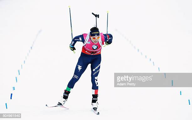 Dorothea Wierer of Italy crosses the line for victory in the Women's 15km biathlon race at the IBU Biathlon World Cup Ruhpolding on January 14 2016...