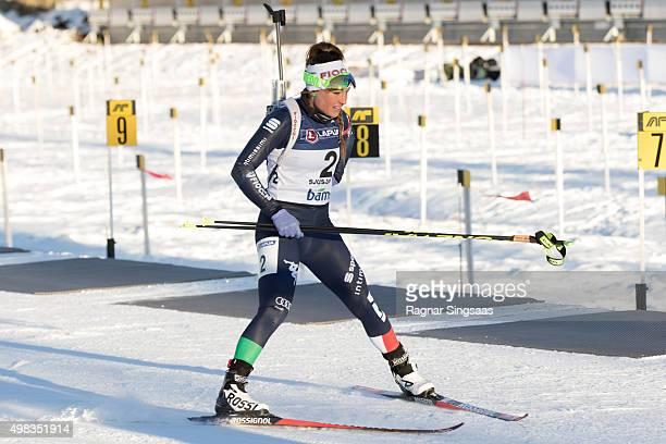 Dorothea Wierer of Italy in action during the women's 125 kilometer mass start race of the Season Start Biathlon on November 22 2015 in Sjusjoen...
