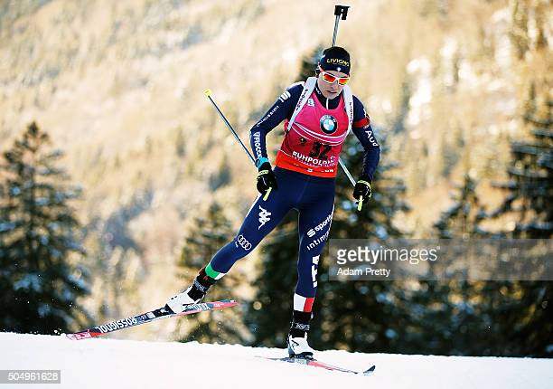 Dorothea Wierer of Italy on her way to victory in the Women's 15km biathlon race at the IBU Biathlon World Cup Ruhpolding on January 14 2016 in...