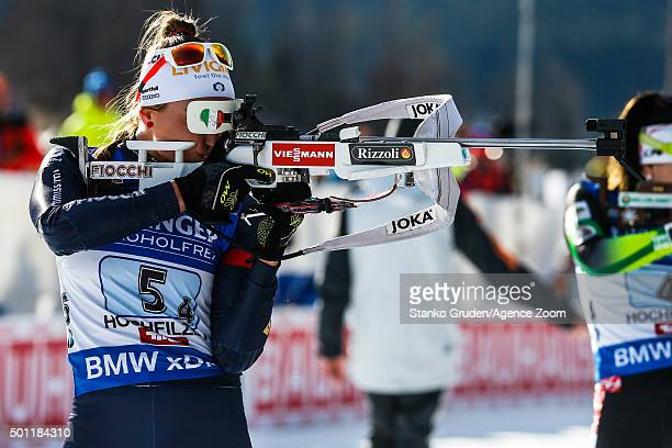 Dorothea Wierer of Italy takes 1st place during the IBU Biathlon World Cup Men's and Women's Relay on December 13 2015 in Hochfilzen Austria