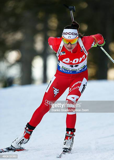 Dorothea Wierer of Italy takes 2nd place during the IBU Biathlon World Cup Women's Sprint on December 18 2014 in Pokljuka Slovenia