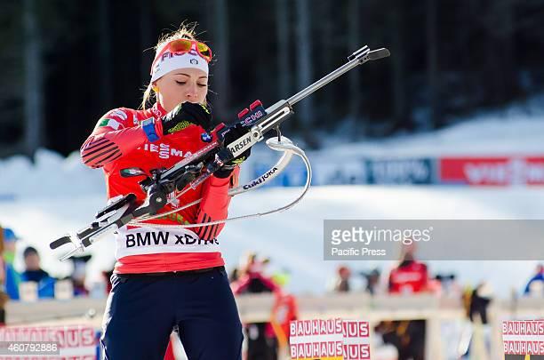 Dorothea Wierer on the shooting range during Biathlon World Cup 125km Mass Start Women on Pokljuka 2014