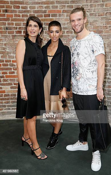Dorothee Schumacher Alina Sueggeler and Andi Weizel attend the Schumacher show during the MercedesBenz Fashion Week Spring/Summer 2015 at Sankt...
