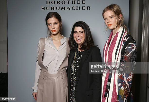 Dorothee Schumacher Kadri Vahersalu and another model are seen backstage ahead of the Dorothee Schumacher in cooperation with Mastercard show during...