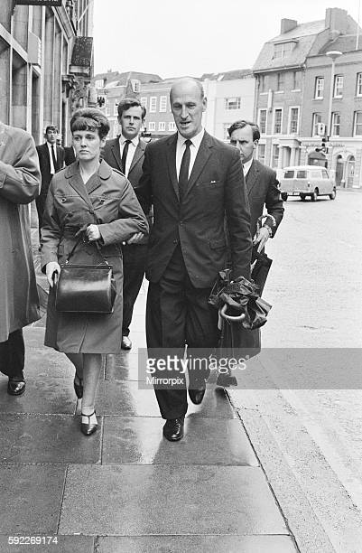 Dorothy Calvert wife of Reg Calvert pictured arriving at Inquest being held in Chelmsford Essex 27th June 1966 Arriving with Supt G Brown of Essex...