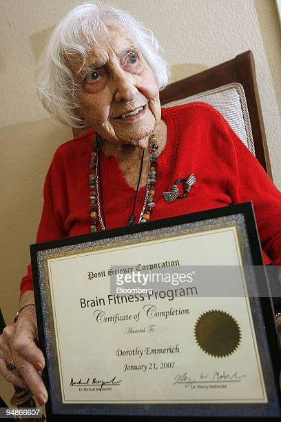 Dorothy Emmerich holds her certificate of completion of the Brain fitness program offered at the Heritage Estates' Brain Gym in Livermore California...