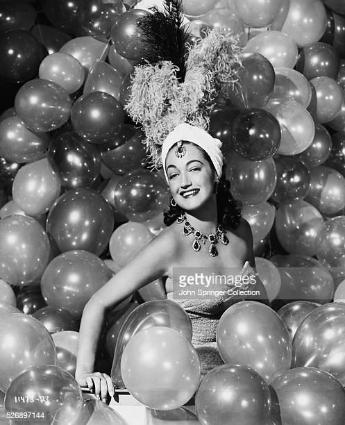 Dorothy Lamour as Phyllis surrounded by balloons in the 1952 film The Greatest Show on Earth