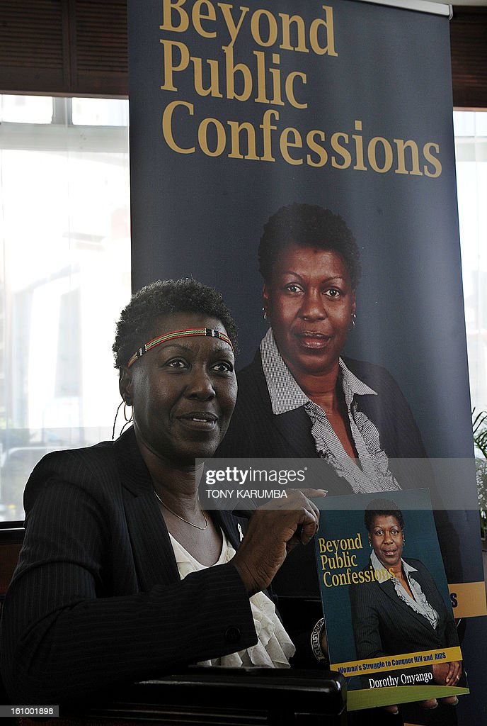 Dorothy Onyango, founder of Women Fighting AIDS in Kenya (WOFAK) is seen at her book launch on February 8, 2013 in Nairobi. Onyango, who lives with HIV, said she felt robbed after failing to be nominated in the recent political party primaries for the slot of Member of Parliament to represent HIV and AIDS victims in Kenya. She cited a lack of clear definition of people living with HIV as a special interest group in the country's new constitution as the greatest challenge in achieving equal representation in national governance as she launched her book, entitled 'Beyond public confessions - Woman's struggle to conquer HIV and AIDS' which is a collection of testimonies of challenges faced by affected women in society and elective politics circles. AFP PHOTO/Tony KARUMBA