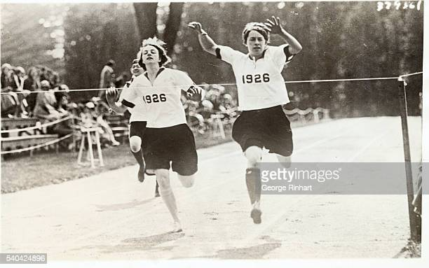 Dorothy Reid Vassar' 26 and Alice Brace Vassar' 26 in a close run race at the Vassar College Annual Field Day Miss Reid is from Jamaica NY and Miss...