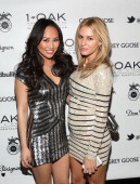 Dorothy Wang and Morgan Stewart attend New Year's Eve at 1 OAK Nightclub at The Mirage in Las Vegas hosted by rapper J Cole on December 31 2013 in...