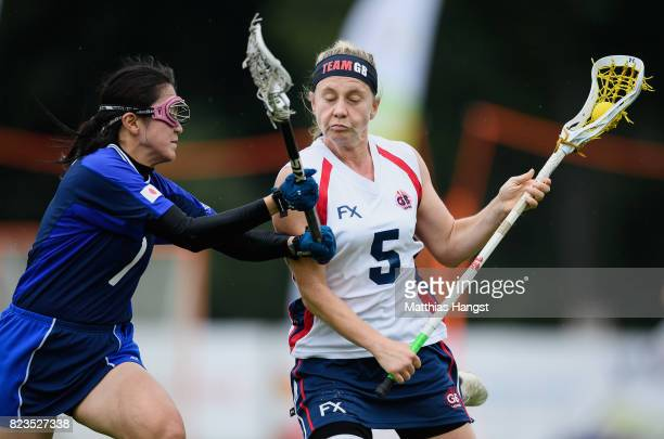 Dorothy Williams of Great Britain is challenged by Nozomi Tanaka of Japan during the Lacrosse Women's match between Great Britain and Japan of The...