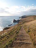 A view along the Dorset coast path,England.
