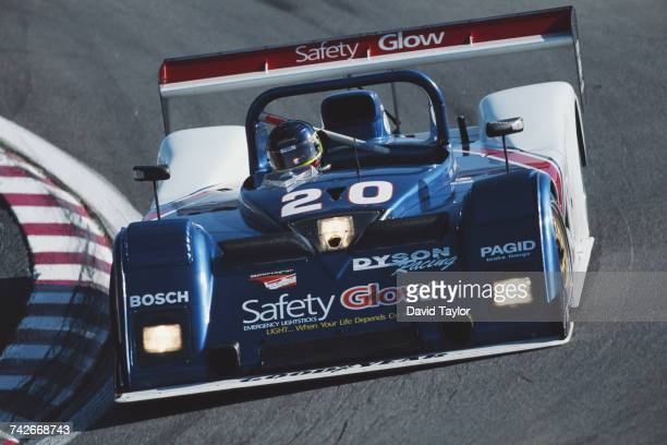 Dorsey Schroeder of the United States drives the Dyson Racing Riley Scott Mk III Ford V8 during the IMSA GT Championship Monterey Sports Car...