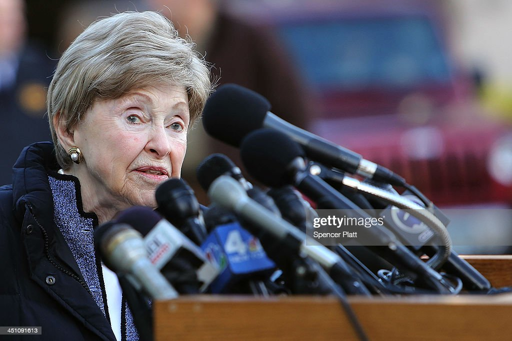 Dorthy Moxley, mother of Martha Moxley, who was killed in 1975, speaks to the media before leaving a Stamford, Connecticut courthouse after a hearing on Kennedy relative Michael Skakel on November 21, 2013 in Stamford, Connecticut. Skakel was set free on bail after his murder conviction in the death of Martha Moxley was vacated last month after a judge decided he did not receive adequate representation in his 2002 trial. Skakel, who was set free on a bail of $1.2 million, was convicted of the 1975 murder of neighbor Moxley and will now face a new trail.