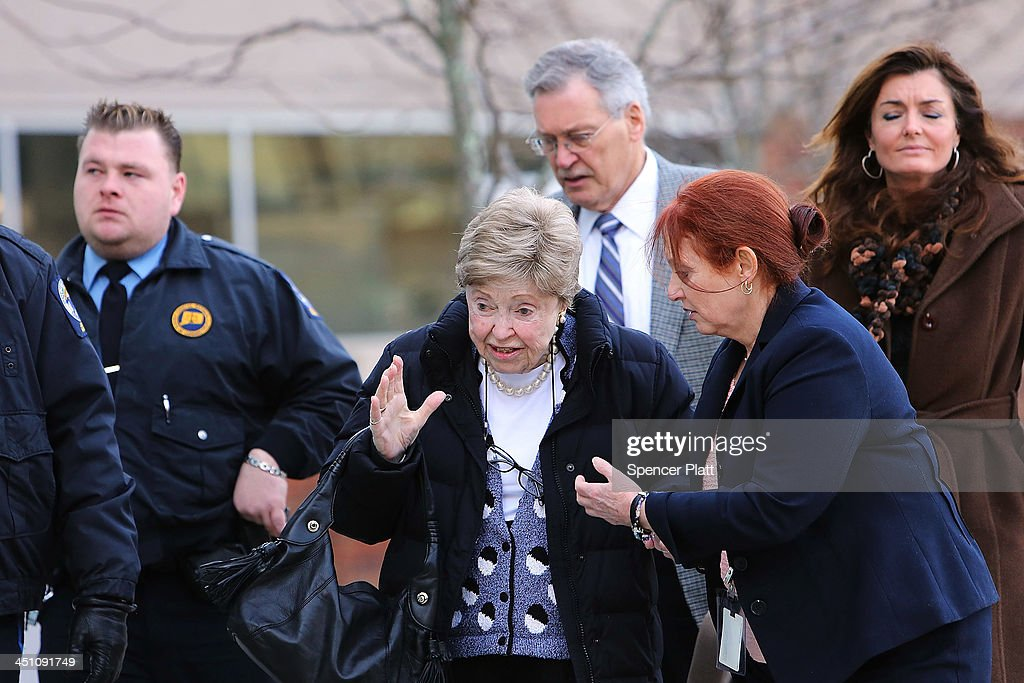 Dorthy Moxley, mother of Martha Moxley, who was killed in 1975, walks into a Stamford, Connecticut courthouse for a hearing on Kennedy relative Michael Skakel on November 21, 2013 in Stamford, Connecticut. Skakel was set free on bail after his murder conviction in the death of Martha Moxley was vacated last month after a judge decided he did not receive adequate representation in his 2002 trial. Skakel, who was set free on a bail of $1.2 million, was convicted of the 1975 murder of neighbor Moxley and will now face a new trail.