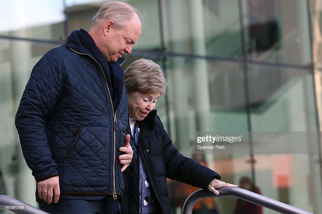 Dorthy Moxley, mother of Martha Moxley, who was killed in 1975, walks with her son John Moxley out of a Stamford, Connecticut courthouse after a hearing on Kennedy relative Michael Skakel on November 21, 2013 in Stamford, Connecticut. Skakel was set free on bail after his murder conviction in the death of Martha Moxley was vacated last month after a judge decided he did not receive adequate representation in his 2002 trial. Skakel, who was set free on a bail of $1.2 million, was convicted of the 1975 murder of neighbor Moxley and will now face a new trial.