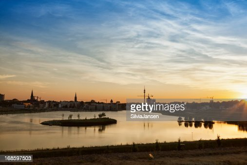 Dortmund cityscape and lake Phoenix