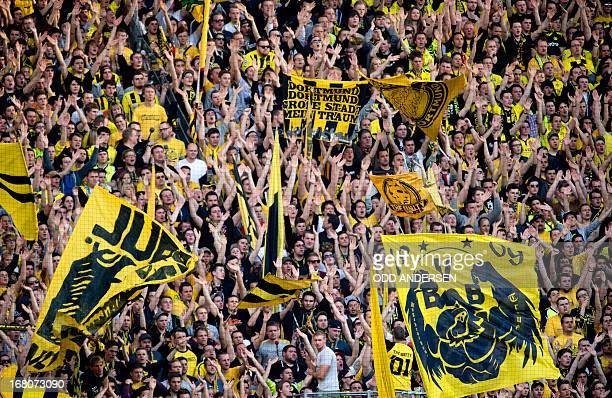 Dortmund fans are seen on the south stand during the German first division Bundesliga football match BVB Borussia Dortmund vs FC Bayern Munich in...