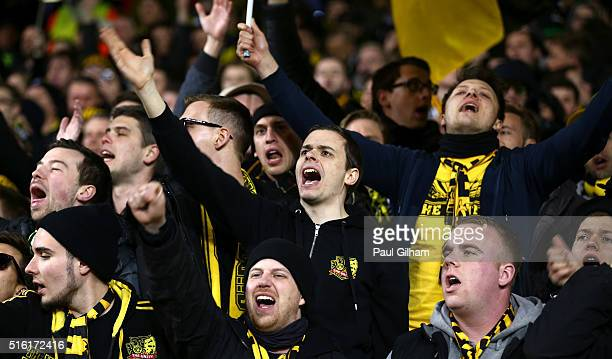 Dortmund fans show their support prior to the UEFA Europa League round of 16 second leg match between Tottenham Hotspur and Borussia Dortmund at...
