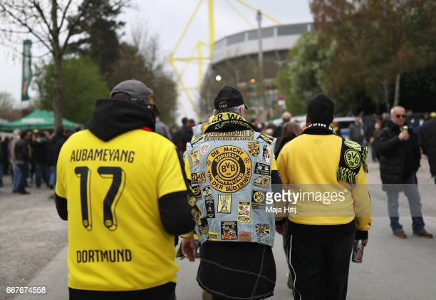 Dortmund fans walk towards the stadium prior to the UEFA Champions League Quarter Final first leg match between Borussia Dortmund and AS Monaco at...