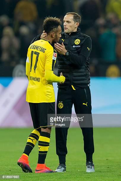 Dortmund Germany 1Bundesliga 7 Spieltag BV Borussia Dortmund Hertha BSC Berlin 11 PierreEmerick Aubameyang und Trainer Thomas Tuchel nach dem 11