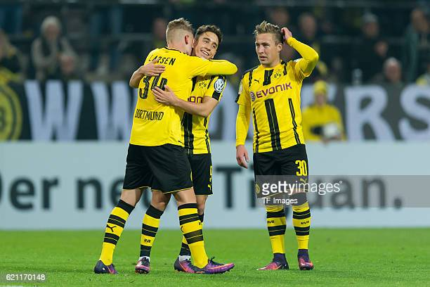 Dortmund Germany DFBPokal 2 Runde BV Borussia Dortmund 1FC Union Berlin Jacob Bruun Larsen und Emre Mor jubelt nach dem treffer zum 10