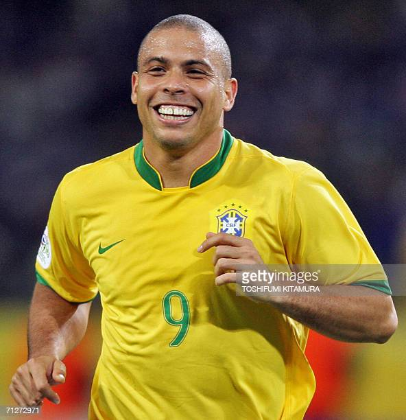Brazilian forward Ronaldo celebrates after scoring during the opening round Group F World Cup football match Japan vs Brazil 22 June 2006 in Dortmund...