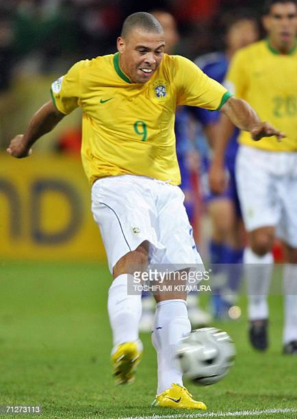 Brazilian forward Ronaldo shoots the ball during the opening round Group F World Cup football match Japan vs Brazil 22 June 2006 in Dortmund Germany...