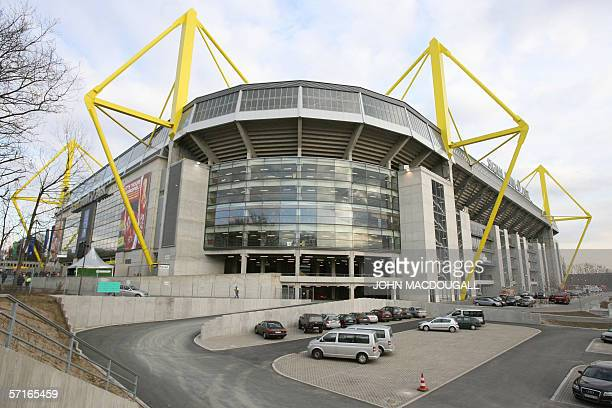 Exterior view of the Westfalen Stadion in Dortmund taken 22 March 2006 The stadium will host matches during the FIFA Football World Cup 2006 hosted...
