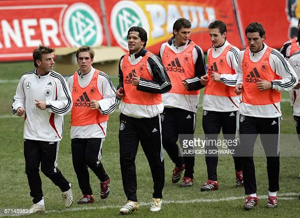 Germany's national team's players Bernd Schneider Philip Lahm Michael Ballack Sebastian Kehl Miroslav Klose and Christoph Metzelder warm up during a...