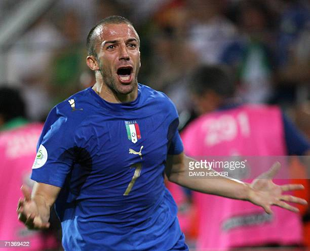 Italian forward Alessandro Del Piero celebrates after scoring the second goal for his team during the 2006 Football World Cup semifinal match between...
