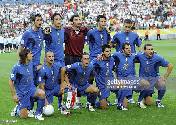 Members of the Italian team pose at the start of the semifinal World Cup football match between Germany and Italy at Dortmund's stadium 04 July 2006...