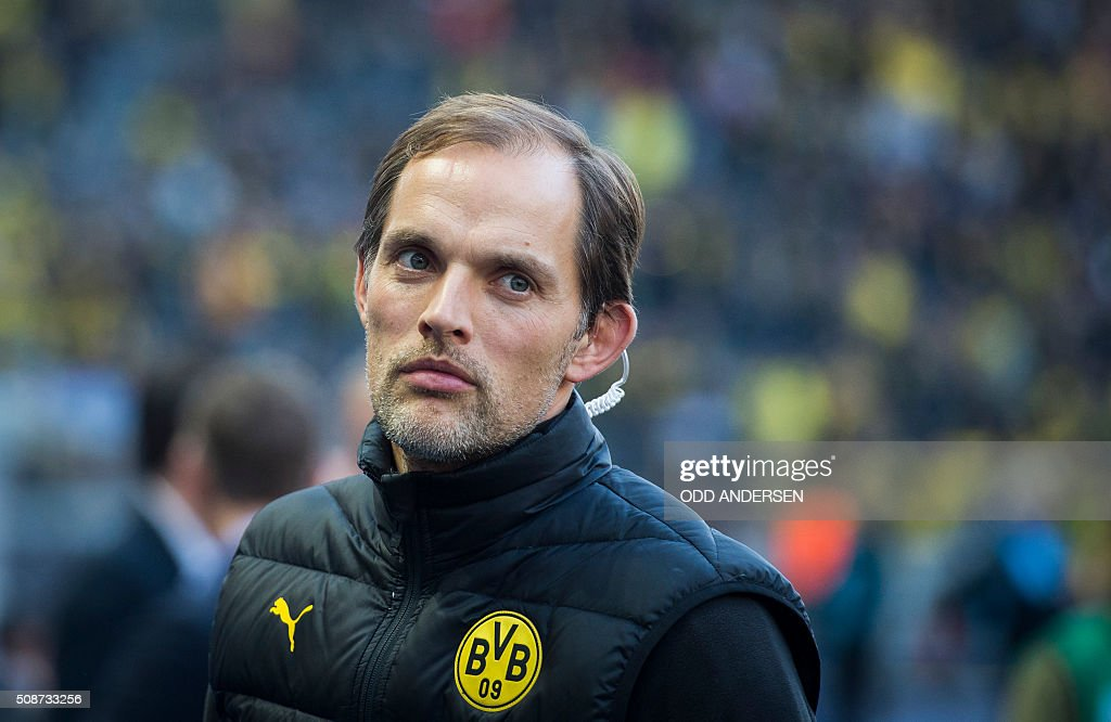 Dortmund head coach Thomas Tuchel is seen prior to the German first division Bundesliga football match, Hertha Berlin v Borussia Dortmund, in Berlin on February 6, 2016. / AFP / ODD ANDERSEN /