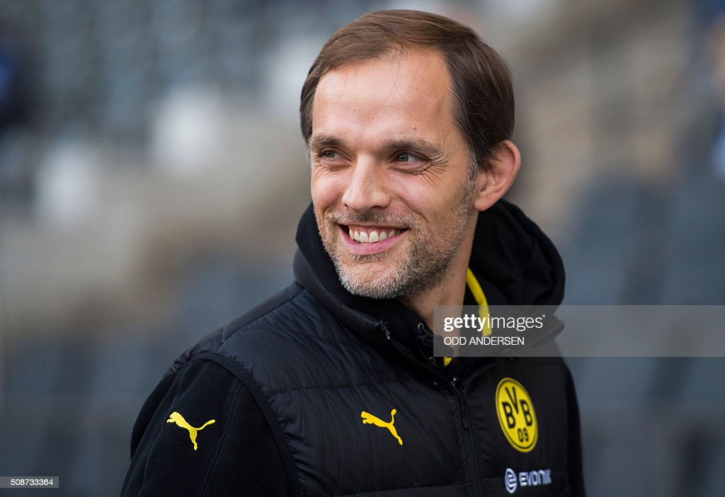 Dortmund head coach Thomas Tuchel is seen prior to the German first division Bundesliga football match, Hertha Berlin v Borussia Dortmund, at the Olympic stadium in Berlin on February 6, 2016. / AFP / ODD ANDERSEN /